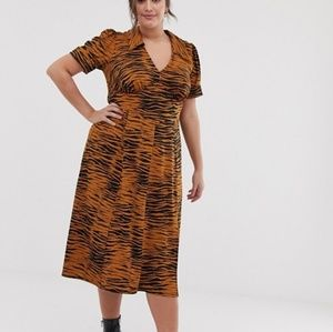 Asos Curve Tiger Print Midi Tea Dress